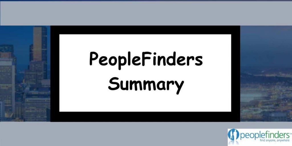 PeopleFinders Summary