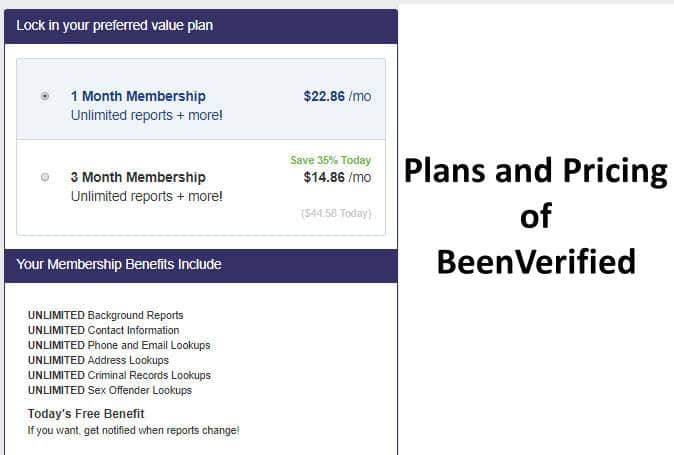 Plans and Pricing of BeenVerified